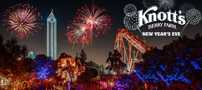 Special fireworks, live entertainment, and extended hours, plus Knott's signature rides and attractions at Knott's Merry Farm on to the New Year's Eve