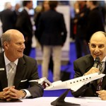 Qatar Airways Group Chief Executive, His Excellency Mr. Akbar Al Baker, and Gulfstream President, Larry Flynn, announcing the Qatar Executive purchase of 30 Gulfstream jets at EBACE.