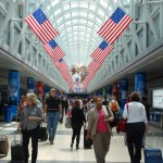 American flags line the Hall of Flags in Terminal 3 at O'Hare.