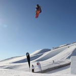 Snowboarders launch themselves into the air during the slopestyle event. All events during the Audi Quattro Winter Games are free for spectators to enjoy. CREDIT: Getty Images
