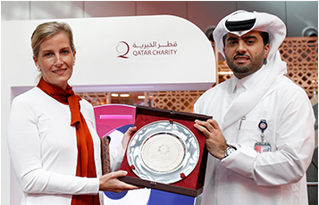 Pictured during the fundraising drive organised at Hamad International Airport (HIA) in celebration of World Sight Day are HRH Princess Sophie, the Countess of Wessex (left) and HIA's COO Badr Al-Meer.