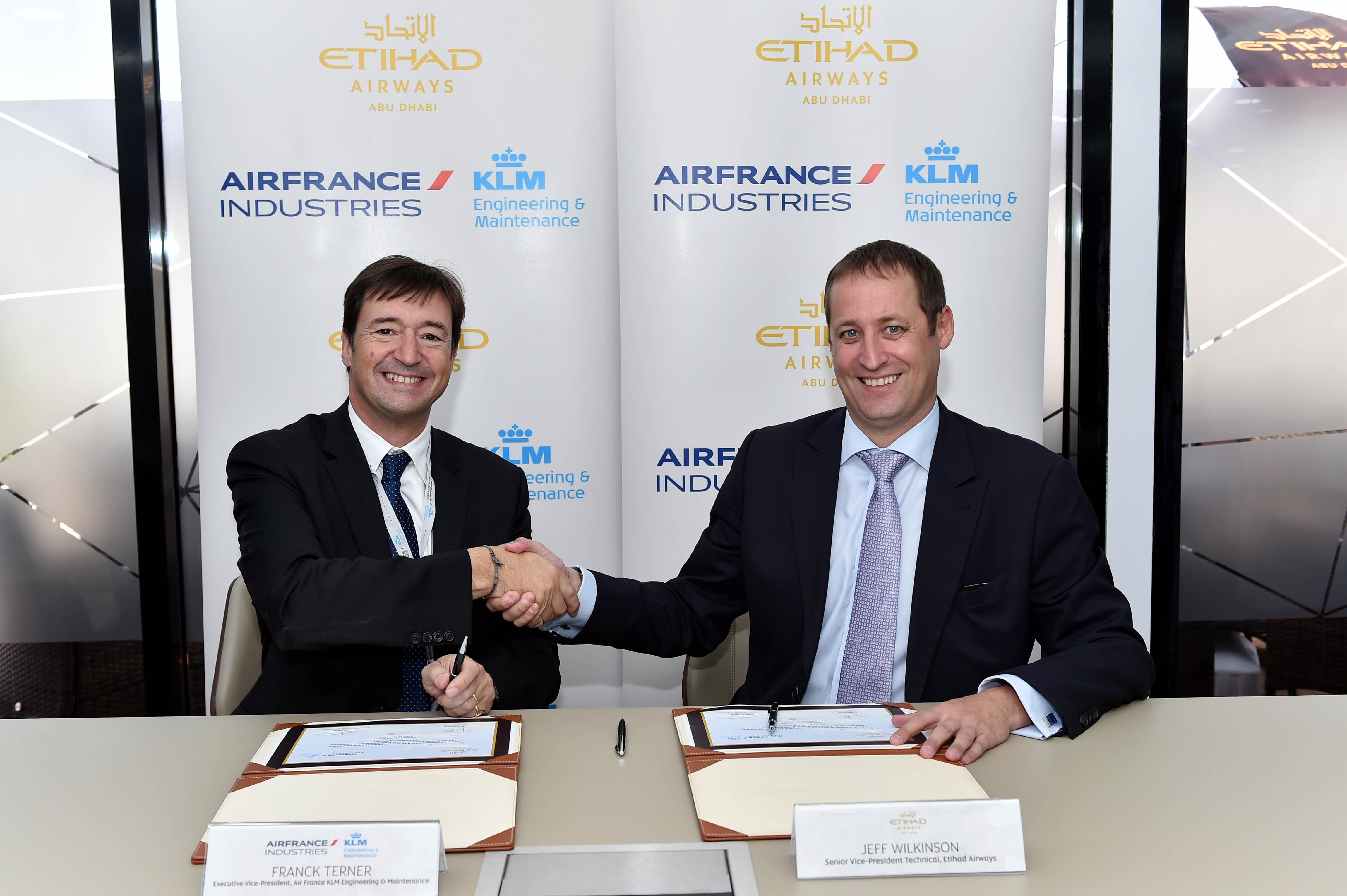 Picture Caption: Jeff Wilkinson, Senior Vice President Technical of Etihad Airways, pictured right, with Franck Terner, Executive Vice President of Air France KLM Engineering & Maintenance, after signing a 10-year agreement for a component maintenance agreement for the carrier's Boeing 777 fleet.
