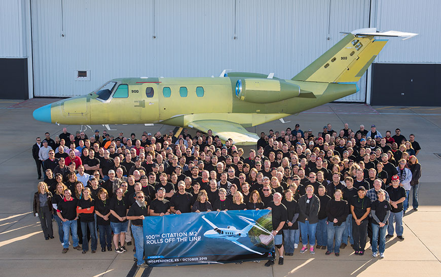 Cessna Aircraft Company rolled out its 100th Cessna Citation M2 business jet less than two years after gaining FAA certification