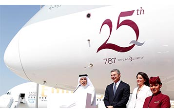 Addressing guests at the celebration of Qatar Airways' 25th Dreamliner at the Dubai Airshow is the airline's Group Chief Executive, His Excellency Mr. Akbar Al Baker (first from left), President and CEO of Boeing Commercial Airplanes, Ray Conner, (second from left) and the United States Ambassador to the State of Qatar, Her Excellency Dana Shell Smith.