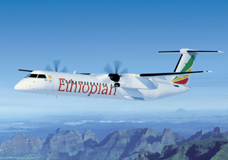 Q400 aircraft in Ethiopian Airline livery