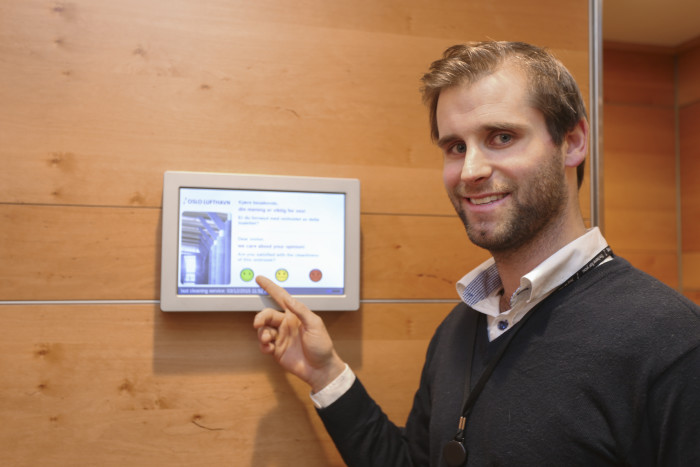 Oslo Airport installed feedback screens in all of the airport's restroom facilities
