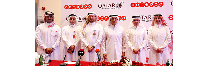 From right; Sheikh Saud Bin Nasser Al Thani, Group CEO of Ooredoo; H.E Mr. Akbar Al Baker, Qatar Airways Group Chief Executive; H.E. Sheikh Abdulla Bin Mohammed Bin Saud Al Thani, Chairman of the Board of Directors for Ooredoo; Mr. Waleed Al Sayed, CEO Ooredoo Qatar; Mr. Yousef Abdulla Al Kubaisi, COO Ooredoo Qatar and Sheikh Nasser Bin Hamad Al Thani, Chief New Business Officer Ooredoo.