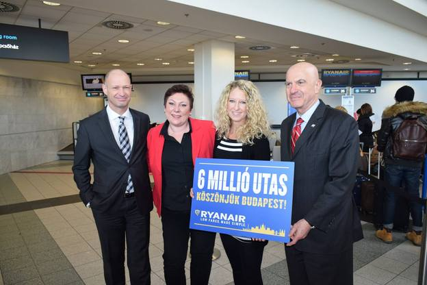 Budapest Airport: Ryanair celebrated its 6,000,000th customer since it commenced operations in 2007