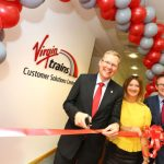 The leader of Newcastle City Council, Nick Forbes (left), opens Virgin Trains' Customer Solutions Centre with Virgin's Customer Experience Director Alison Watson and Managing Director David Horne