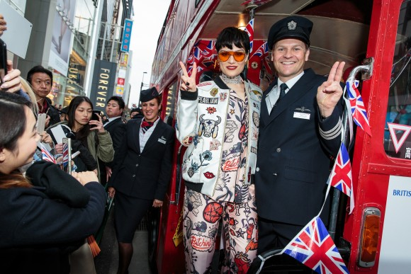 Pop star Jessie J boarded red London bus in Tokyo to help British Airways bring a slice of British culture to Japan