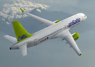 CS300 aircraft in airBaltic colours