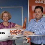 Paul Simmons, easyJet's UK Director with Eastern Region MEP, Vicky Ford