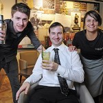 Winning Cocktail creator, Barry Maguire (left) was joined at the new Eatery launch by competition judges: Leeds Bradford Airport's Commercial Performance Manager, Richard Aldridge (Centre) and Sarah Brown of the Saltaire Bar & Eatery.