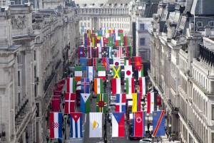 Regent Street in London welcomes the world to celebrate the Summer games. Flags from all the participating countries were launched on Regent Street today. The Mile of Style and the surrounding streets display brightly coloured national flags to celebrate the sporting spectacular.