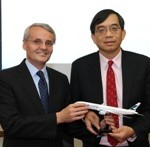 HAECO Chief Executive Officer Augustus Tang (R) and Cathay Pacific Engineering Director Christopher Gibbs were pictured at the signing ceremony of HAECO ITM Limited