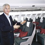 Cathay Pacific Chief Executive John Slosar introduces the design concept and features of the new Regional Business Class product at the unveiling ceremony.