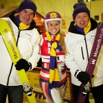 Monarch's Russell Ison (left) takes to the slopes with champion skier, Chemmy Alcott and Leeds Bradford Airport's Tony Hallwood (right)
