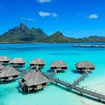 Overwater bungalows, exterior view
