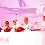 At a press conference in Doha, Qatar Airways Chief Executive Officer Akbar Al Baker hosts the airline's new culinary dream team of internationally-acclaimed chefs inspiring new-look menus and cuisine from around the world. From left: Chef Tom Aikens, Chef Vineet Bhatia, Qatar Airways CEO Akbar Al Baker, Chef Nobu Matsuhisa and Chef Ramzi Choueiri.