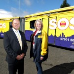 SOS Bus team leader, Sarah McCandless, talks Chief Executive of Belfast City Airport, Brian Ambrose, through the vital work of the service and its volunteers ahead of the universities' 'Freshers' Week'