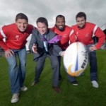 Pass master Declan Kearney, Aer Lingus Director of Communications, is helping Ulster Rugby prepare to spin another success story this season after the signing of a new sponsorship deal. The package will see Aer Lingus become the official airline for Ulster Rugby over the next two years. Admiring Declan's technique are Ulster stars Johann Muller, John Afoa and Jared Payne.