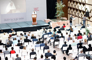 Students, faculty and guests of Carnegie Mellon University Qatar attend the Lecture Series event on the university campus where Qatar Airways Chief Executive Officer Akbar Al Baker delivered an address on the airline's vision and its success story.