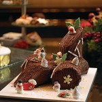 Traditional yule log dessert