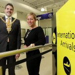 Lord Mayor of Belfast, Alderman Gavin Robinson and Katy Best Commercial and Marketing Director at the airport at the opening of the new international arrivals lounge