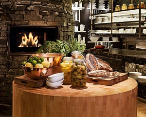 Butcher's block and wood-fired oven