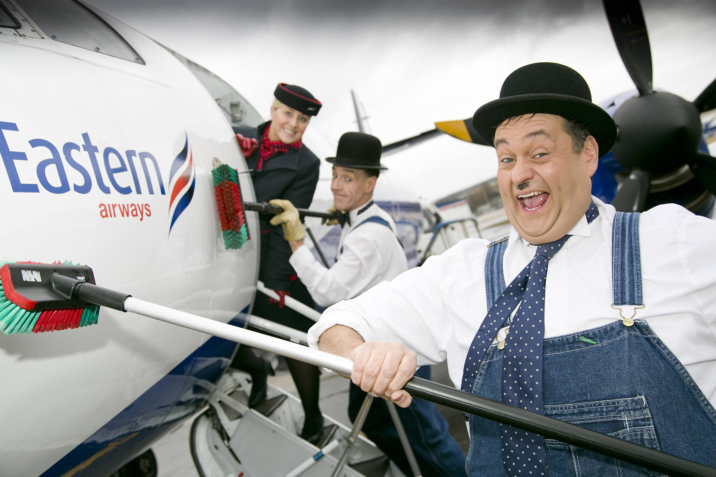 HAUREL AND LARDY ENTERTAIN EASTERN AIRWAYS PASSENGERS