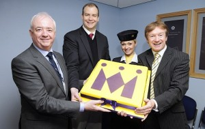 Monarch Airlines announces winter programme for 2013/14. (L-R) Leeds Bradford Airport's Chief Executive, John Parkin, Monarch's Commercial Director, Jochen Schnadt, Monarch Cabin Crew, Janine Mullin and Leeds Bradford Airport's Commercial Director, Tony Hallwood