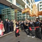 Portuguese and Macau officials watch Dragon Dance exhibition at the Macau Day
