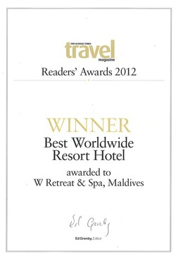 W Maldives Named 'Best Worldwide Resort Hotel' at Recent Awards Ceremony