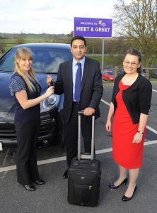 Travel pr news leeds bradford airport launches exclusive meet and pwcs arif ahmad c is greeted by leeds bradford airports car park operations manager m4hsunfo