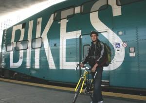 Metrolink rider Kriti Sen Sharma exits the Bike Car at L.A. Union Station