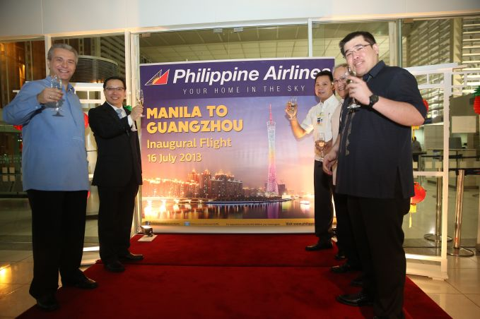 Philippine Airlines (PAL) started four-times-weekly flights to Guangzhou from Manila