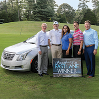 Pictured (L) to (R): Stephen P. Holmes, chairman and chief executive officer, Wyndham Worldwide; Brandt Snedeker, 2007 Wyndham Championship winner and six-time PGA TOUR winner; Wydea Winters, third winner in the Accelerate Into the Fast Lane Sweepstakes; Jeff Myers, chief sales & marketing officer, Wyndham Vacation Ownership; and Franz Hanning, president and chief executive officer, Wyndham Vacation Ownership.