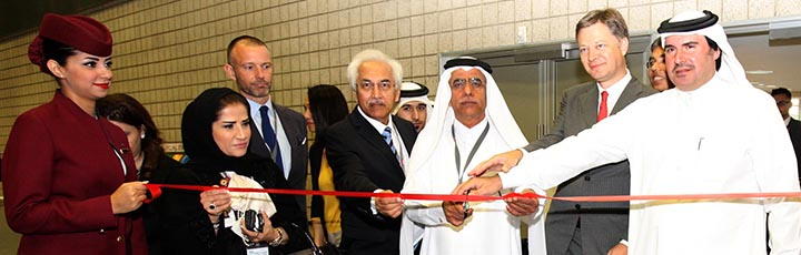 His Excellency Abdul Aziz Al Noaimi, Chairman of the Qatar Aviation Authority and senior management from Qatar Airways and ACI Exchange at the ribbon-cutting ceremony