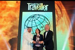 Orhan Abbas - Senior Vice President Commercial Operations (Latin America, Central & South Africa) and Thierry Antinori – Executive Vice President and Chief Commercial Officer, Emirates receiving the Conde Nast traveller Award for Best Airline – Business, from Rana Hariz, Business Development Manager – Middle East at BPA Worldwide (centre)