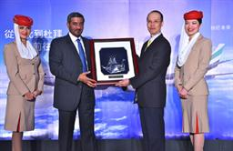 His Highness Sheikh Ahmed bin Saeed Al-Maktoum, Chairman and Chief Executive, Emirates Airline & Group presents a gift to Mr Yin Chen-Pong, Chairman of Taipei Taoyuan Airport Authority after the arrival of Emirates' inaugural flight to Taipei.