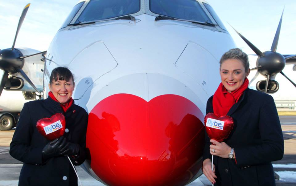 Flybe designated one of its Bombardier Q400 aircraft as official 'Love Plane' to celebrate Valentine's Day