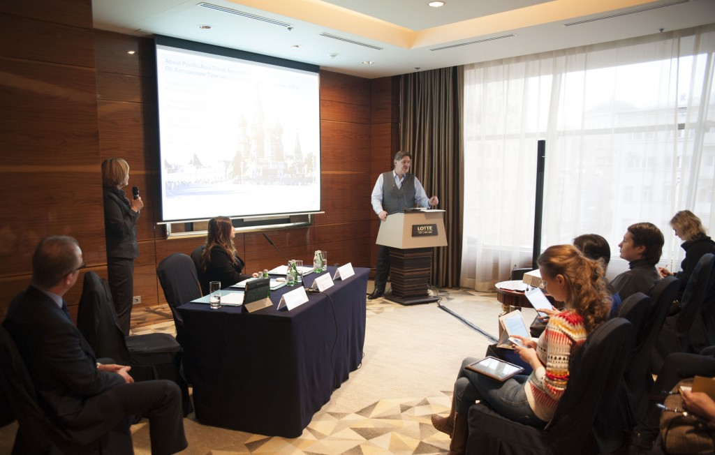 PATA CEO Martin Craigs and PATA Regional Director – East Asia, Ivy Chee holding a press briefing at Lotte Hotel Moscow