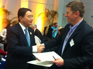 Secretary General Rifai of the UNWTO and President of the ATTA, Mr. Shannon Stowell sign agreement during ITB Berlin.