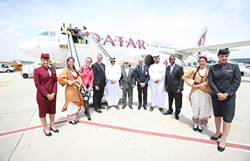 Qatar Airways senior management, invited dignitaries and airport officials pictured at Larnaca International Airport following the arrival of Qatar Airways' first flight to Cyprus.