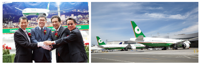 EVA Chairman K.W. Chang and Boeing VP Marketing Ihssane Mounir staged delivery ceremony for EVA Air's two new Boeing 777-300ERs