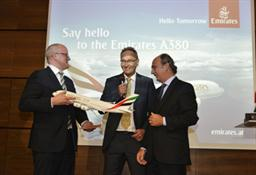 Julian Jaeger, CEO of Vienna International Airport is handed a commemorative gift from Thierry Aucoc, Senior Vice President Commercial Operations for Europe and the Russian Federation.