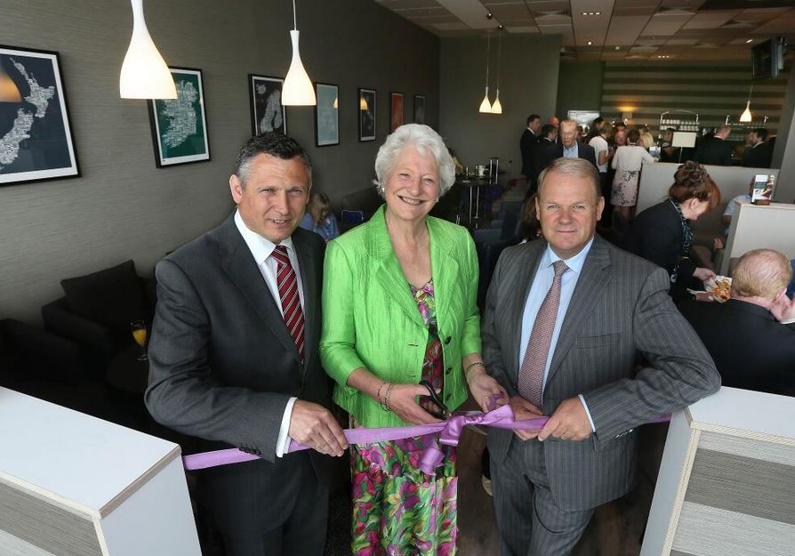 Shaun Weston, Travel Services Director for Swissport, joins Dame Mary Peters and George Best Belfast City Airport CEO Brian Ambrose at the opening of the Aspire Lounge.