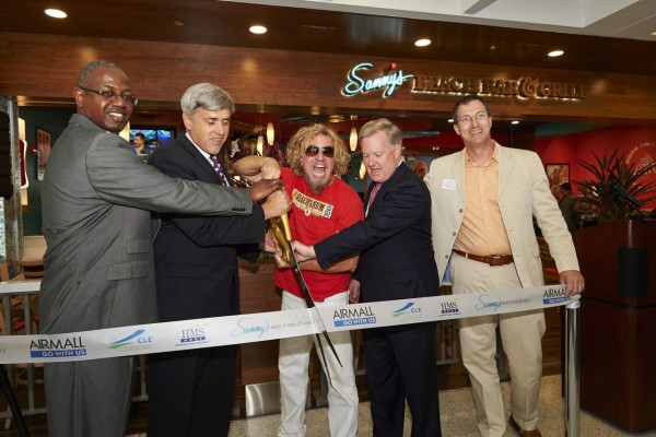 From Left to Right: Ricky Smith, Director, Cleveland International Airport; Tom Fricke, President & CEO, HMSHost; Sammy Hagar; Brandon Blaylock, CEO & President, AIRMALL; Todd Mesek, Vice President of Marketing & Communications, Rock 'n' Roll Hall of Fame