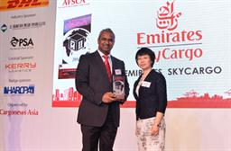 Nabil Sultan, Emirates Divisional Senior Vice President, Cargo (left) accepts 'Best Air Cargo Carrier Middle East' at the 28th Annual Asian Freight & Supply Chain Awards in Shanghai