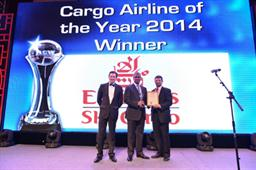 Nabil Sultan, Emirates Divisional Senior Vice President, Cargo (center) accepts 'Cargo Airline of the Year 2014', at the Air Cargo Week World Air Cargo Awards 2014 in Shanghai